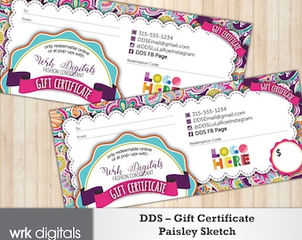 Dot Dot Smile Gift Certificate, Paisley Sketch Design, Fashion Consultant, Direct Sales, PRINTABLE