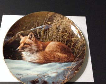 """Wild Wings collector plate, """"Winter Repose--Red Fox"""" from Rosemary Millette painting."""