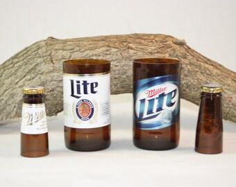 Unique Glassware Upcycled fromMiller Lite Beer Bottles, Shot Glass, Drinking Glass, Miller Lite Gift Set
