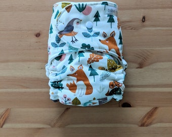 Woodland Friends OBF Hybrid Fitted Diaper - OS Hybrid Fitted Cloth Diaper - OS Fitted Diaper with Fold Down Rise
