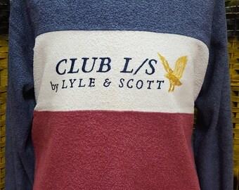Vintage LYLE and SCOTT / velvet / tricolor / Medium size sweatshirt (F3)