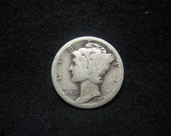 1917 S Mercury Dime US coin Silver  #2650, Hard to Find Coin