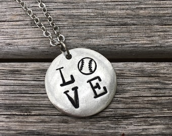 LOVE Baseball hand stamped silver pendant - 1 inch round - 16, 18, 20 or 22 inch chain