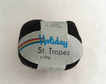 2 Balls Vintage Holiday ST TROPEZ Cotton Yarn- Sport - Black  - 50gr -
