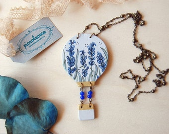 Wooden necklace with hot air balloon. Flowered Meadow with Lavender