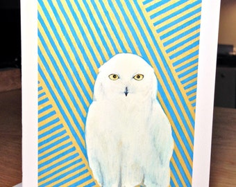 3 Cards with envelopes - White Owl - prints of original drawing
