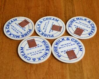 Milk Caps Unused Vintage Set of 5