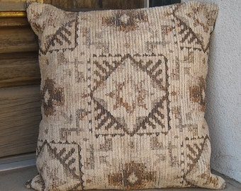"Southwest Pillow Cover 16"" x 16"", to 24"" x 24"", muted southwestern colors, rich upholstery fabric"