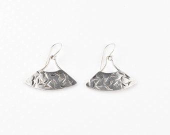 Sterling Silver Fan Shaped Earrings, Textured Silver Earrings, Dangle Earrings