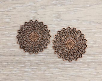 Filigree Round Stamping, 35 mm, Copper Stampings, Brass Stampings