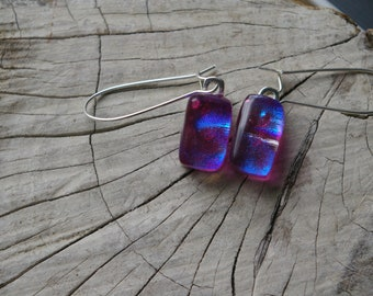 pretty in pink fused dichroic glass earrings