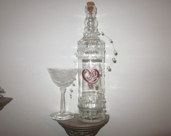 Festive Decorative shabby wine bottle/decanter w/red heart w/pearls/LOVE/Valentines day/True Love 4 ever