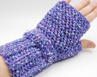 Fingerless gloves, crochet wristlets, fingerless mittens, wrist warmers, purple gloves, purple mittens, womens gloves, fingerless mitts