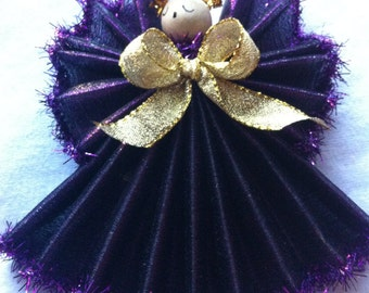 Angel 5 Inch Ornament, Handmade Rich Purple,Tall Angel Ornament