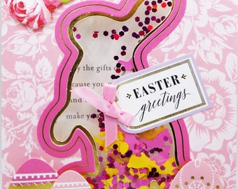 Easter Greetings Springtime pink sequins and Rabbits & Egg Confetti Shaker Card 2018 Card Handmade