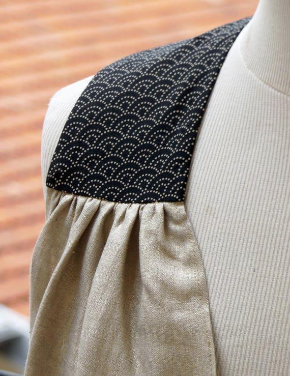 Débardeur en lin doré pour femme. Reflets d'or, lin léger et naturel pour l'été. Tissu japonais aux épaules.