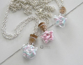 Marshmallows, heart shaped flask necklace or star, candy, candies, necklace jar