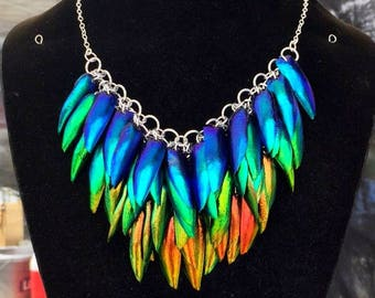 Rainbow Necklace Jewel Beetle Iridescent Elytra Necklace - bug jewelry insect jewelry natural jewelry elytra necklace beetle wings
