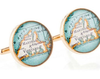 Martha's Vineyard Cufflinks  Bronze Antique Map Vintage Globe Cuff Links Gift for Him Groom or Dad