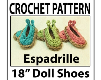 "18"" Doll Espadrille Shoes Crochet Pattern"