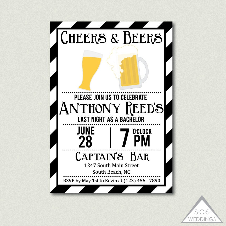 Bachelor Party Invitation Cheers and Beers Bachelor Party