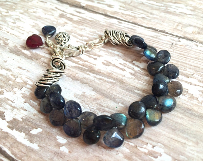 Blue and Silver Gemstone Bracelet--Blue Labradorite and Ruby with Bali Dangles