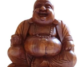 Hand carved, Solid Wooden Happy Buddha statue