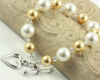 Champagne Gold and White Bracelet Pastel Pearl Crystal Bridal Jewelry Spring Fashion Sterling Heart Prom Jewelry