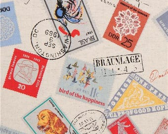 217696 natural color with colorful stamp Canvas fabric from Japan