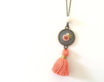 Hand Embroidered Necklace | Tassel Necklace, Floral, Vintage Jewelry, Hand stitched, Floral pendant, Keepsake Necklace, Feminine, Boho