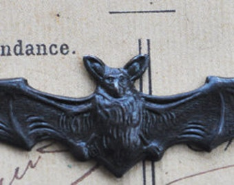 Bat brass stamping with long wing span, gothic jewelry, black satin finish, Gothic Jewelry Supplies