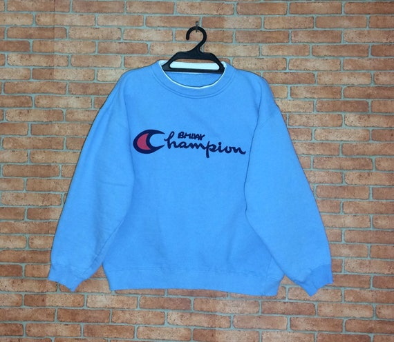 Rare!!! Vintage Champion Spell out Embroidery sweatshirt Pull over Vtg Crewneck Champion Product M L size Jacket calC3qeJVy