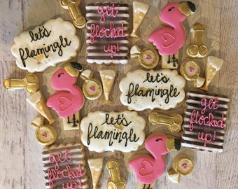 Let's Flamingle Bachelorette Party Sugar Cookies