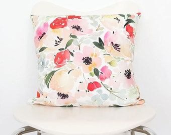 Anemone & Roses - Watercolor Throw Pillow