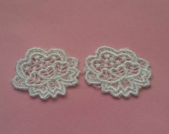 2 Pieces White Crochet Lace Applique Flower Vintage Patch Sew On