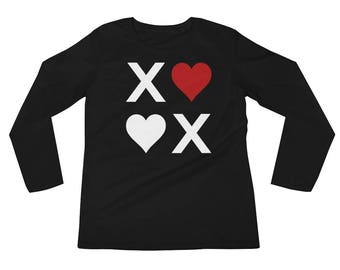 XOXO Hugs & Kisses Love Ladies' Long Sleeve T-Shirt