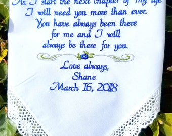Personalized Wedding Handkerchief  Lace Embroidered for Grandmother, Mother of the Bride, Stepmother By Canyon Embroidery
