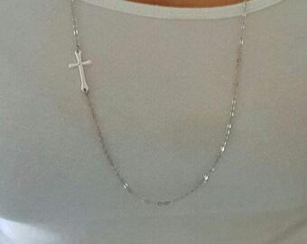 HUGE SALE - LONG Side ways Cross Necklace - Kelly Ripa Celebrity Sideways Cross Necklace