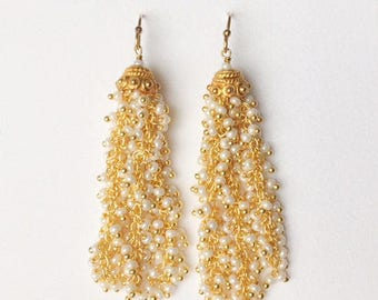 White Tassel Earrings, Vermeil, Statement Earrings, Fringe earrings