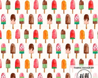 Watercolor Popsicles Fabric by the Yard -  Summer Dessert Ice Cream Print in Yard & Fat Quarter