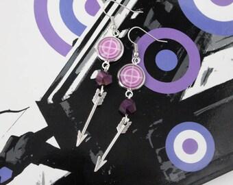 Hawkeye Target Earrings Marvel Comic Inspired Jewelry Avengers Clint Barton Kate Bishop Hawkeye Silver Arrow Earring Comic Nerd Geek Gift