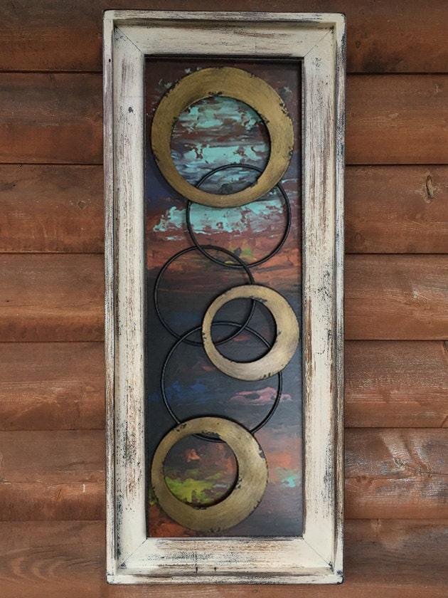 Wall ART WOOD Cream Framed Metal Rings GOLD Abstract Circles Sign ...