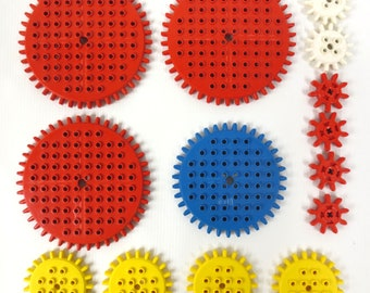 Vintage 1970's Lego Legoland 14 Gears from the 001 Building Set, 3 Large Red Gears, 1 Blue, 4 Yellow, 4 Small Red and 2 White