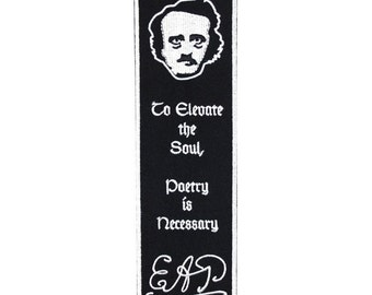 """Bookmark Sew-On Patch Edgar Allan Poe Fan Craft """"Poetry"""" Elevates the Soul Quote"""