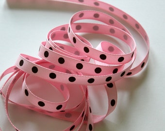 "3/8"" Dotted Grosgrain Ribbon - Pink with Brown Dots - 5 yards"