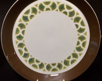 "Mikasa Duplex by Ben Seibel Penthouse Pattern #2503 Platter 12.5"" Chop Plate Brown Banded Raised Rim Green/ Blue"
