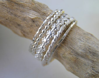 Stacking Rings five. Set of 5 sterling silver stacking rings. Simple and Modern Handmade Sterling Silver Rings.