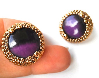 "One of a Kind ""Arial"" Stud Earrings. Deep Purple Vintage Glass & Antiqued Gold Metal. FAST Shipping from USA with Tracking 4 US Buyers."
