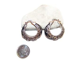 Vintage black and silver hoop earrings, pierced earrings, hoops, hoop earrings, filigree earrings, dangle earrings, fashion earrings