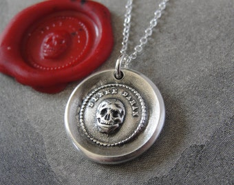 Skull Wax Seal Necklace memento mori antique wax seal charm jewelry with motto Think Of It vanitas by RQP Studio